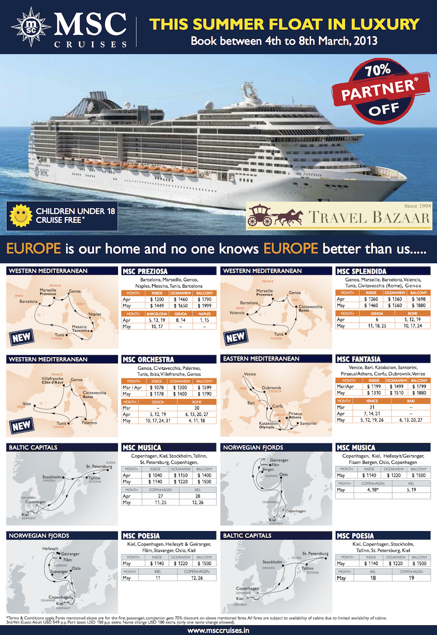 MSC CRUISES OFFER MSC offer